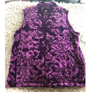 NWT Jane Ashley Purple Velour Outerwear Vest XL